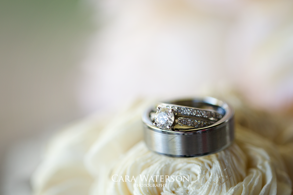 wedding rings on roses