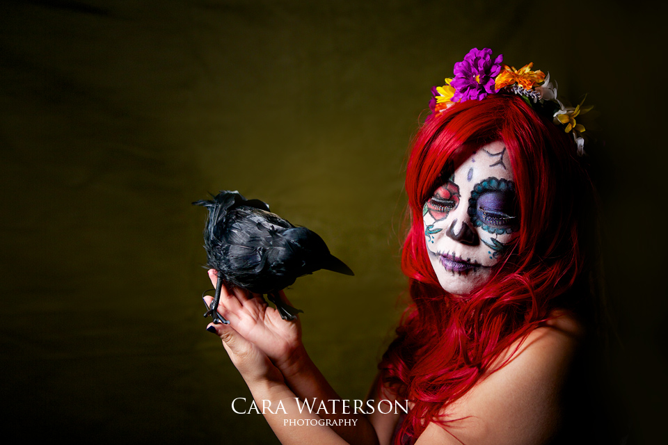 red head with crow